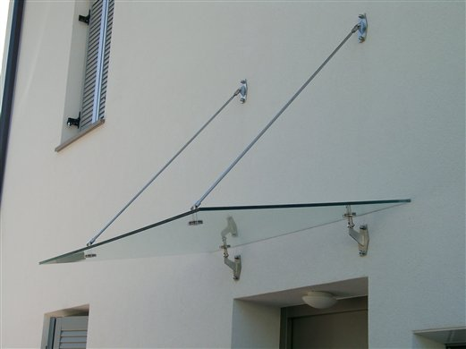 Vordach Punkthalter und Zugstangen Inox
