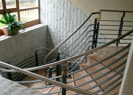Stiegengel. antrazit/Inox mit Handlaufhalterrosetten aus Messing